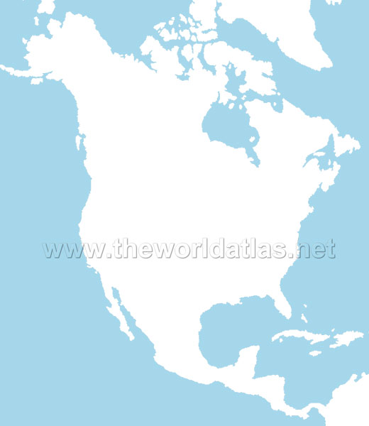 blank map of africa and asia. North America Blank Map